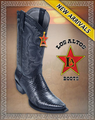 Woman Lizard Western Boots Genuine Teju Lizard Black - 340735