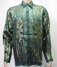 Greek Green & Gold Silk Shirt