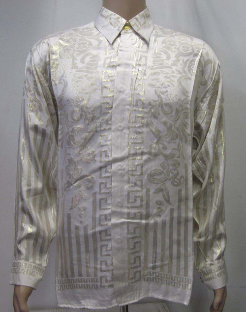 Greek White & Gold Silk Shirt