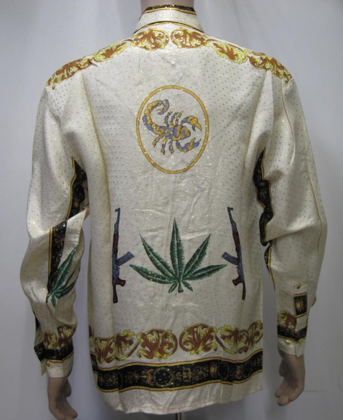 Scorpion Cannabis Leaf Metallic Silk Shirt