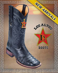 Caiman Belly Black Cowboy Western Boots Rodeo Style with Saddle, Black 8218205