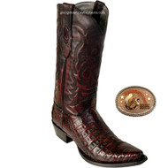 Black Cherry Snip Toe Caiman Mens Boots 948218