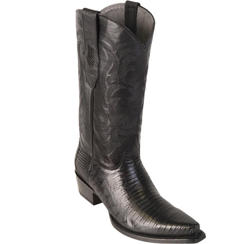 Black Teju Lizard Snip Toe Los Altos Boots 940705
