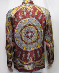Calendar Baroque Vintage Deadstock Shirt 100% Metallic Silk Shirt luxurious couture