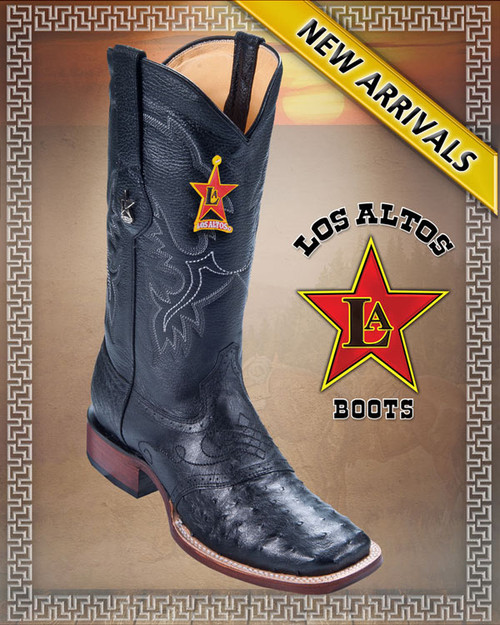 Ostrich Square toe Western boots Los Altos Boots Black,Style: 8210305