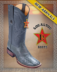 Los Altos Boots Gray Ostrich Boots Square Toe Style:8210309