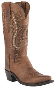 Womens Lucchese Since 1883 Western Tan Mad Dog Goat With New Leaf Stitch Design Cowgirl Boots M4999