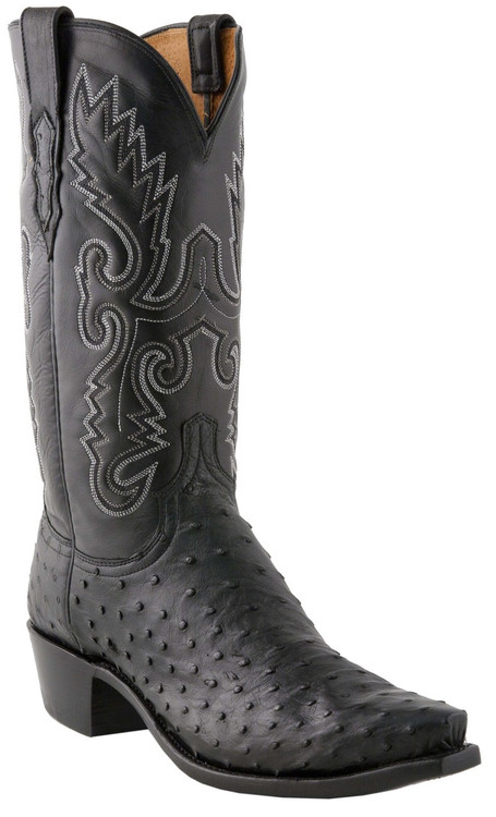 Lucchese Heritage Mens Black Full Quill Ostrich Leather
