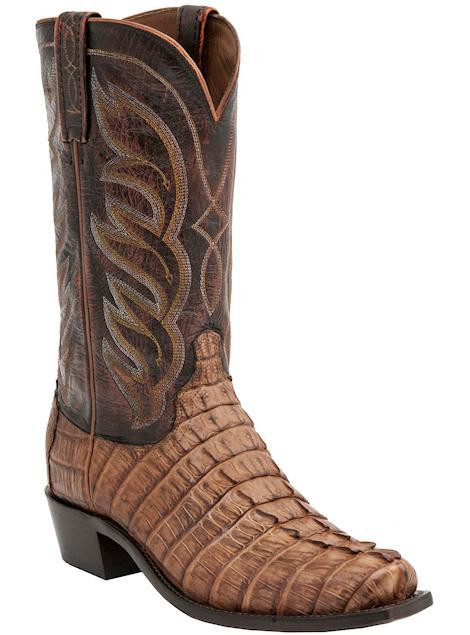 Lucchese Since 1883 Mens Western Landon Barrel Brown Hornback Caiman Tail M2688