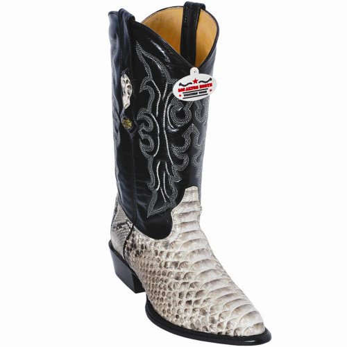Exotic Python Western Cowboy Boots,J-Toe Color: Natural with Black Shaft 995749 Los Altos
