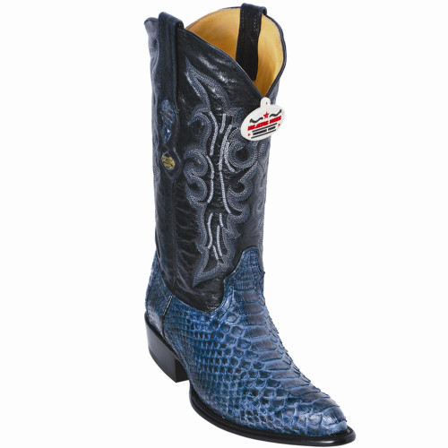 Exotic Python Western Cowboy Boots,J-Toe Color: Rustic Blue 995782 Los Altos