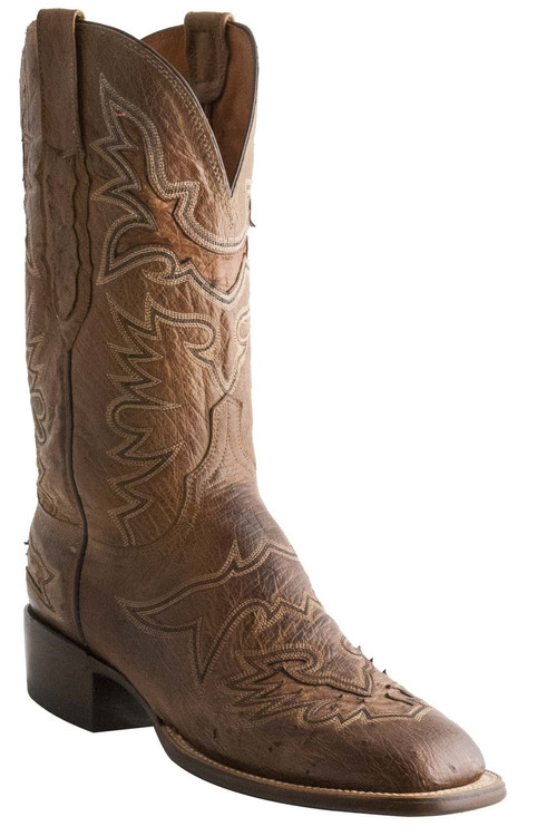Lucchese Heritage Mens Barnwood Burnished Smooth Ostrich Leather Cowboy Boots C7965 CL7965