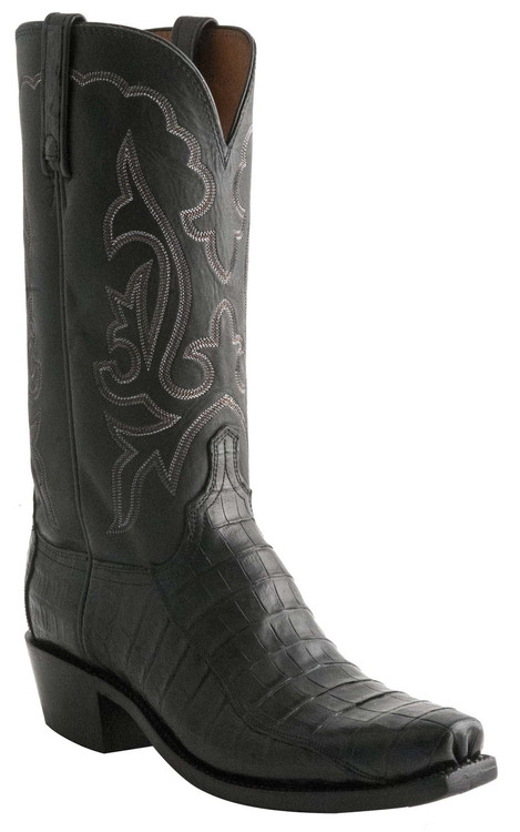Lucchese Heritage Mens Black Ultra Belly Caiman Cowboy Boots N9584