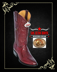 Lizard Mens Western Boots Medium R -Toe Burgundy 600606 Los Altos Boots