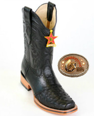 Square Toe Ostrich Boots Color : Black. Los Altos Boots 8170305
