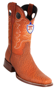 Mens Full Vamp Shark Square-Toe Boots.  Wild West Boots Cognac 282C9305