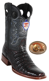 Black Cherry Caiman Square Toe Boots Wild West Boots 282C8218