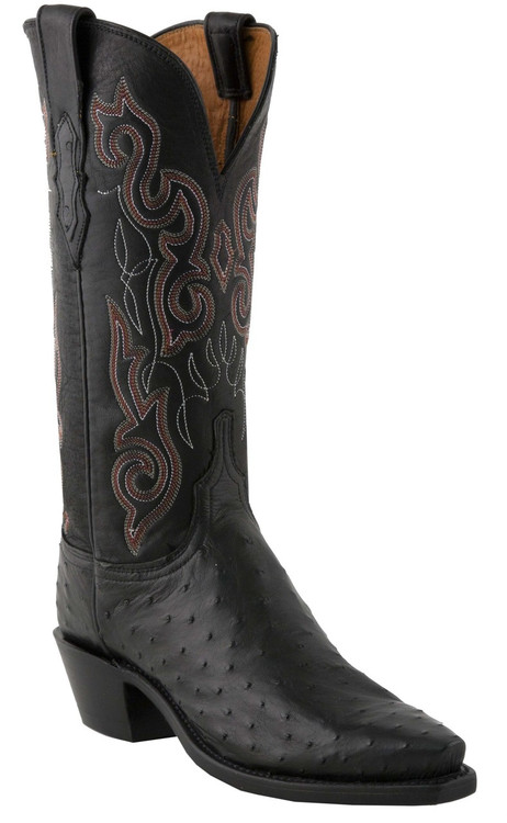 Lucchese Heritage Womens Black Burnished Pin Ostrich N4063