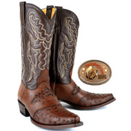 King Exotic Ostrich Snip Toe Boots Brown