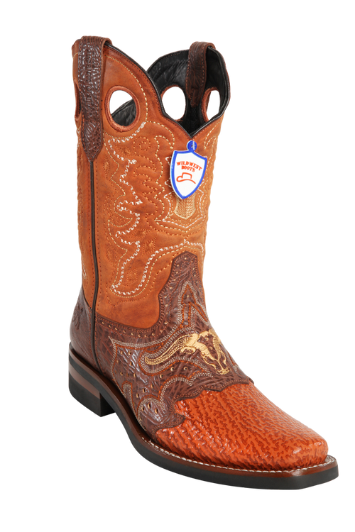 Wild West Boots Sharkskin Boots with Rubber Soles. Cognac 282H9303