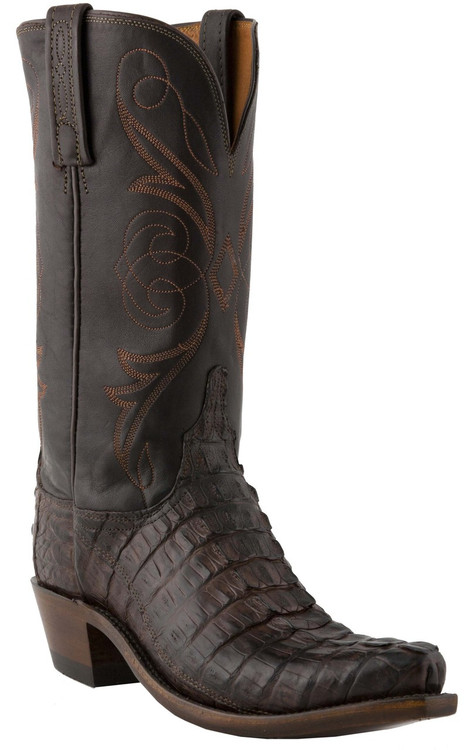 Lucchese Heritage Womens Barrel Brown Caiman Tail Leather Boots N4081