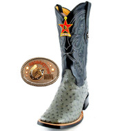 Los Altos Boots Full Quill Ostrich  Wide Square Toe  Western Cowboy Boots Gray