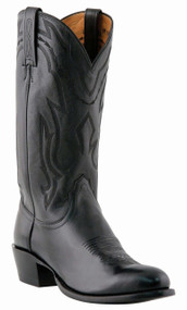 "Lucchese Since 1883 Mens Western with ""New Leaf"" Stitch Design Black Lonstar Calf Cowboy M1020"