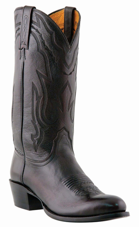 "Lucchese Since 1883 Mens Western with ""New Leaf"" Stitch Design Black Cherry Lonestar Calf Cowboy M1021"