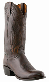 "Lucchese Since 1883 Mens Western with ""New Leaf"" Stitch Design Antique Burnished Lonestar Calf Cowboy M1022"