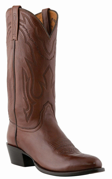 "Lucchese Since 1883 Mens Western Boots with ""New Leaf"" Stitch Design Antique Walnut Lonestar Calf Cowboy M1023"