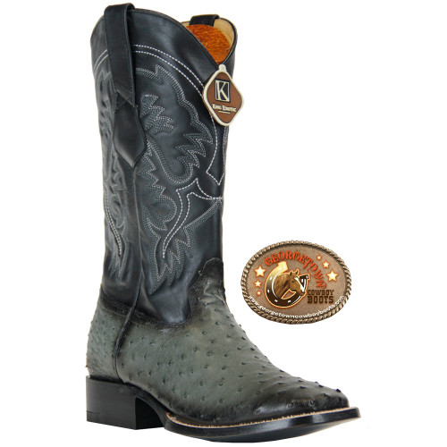 King Exotic Mens Full Quill Ostrich  Wide Square Toe  Western Cowboy Boots Gray Burnished