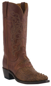 Mens Lucchese Since 1883 Western Boots Tan Burnished Waxy Hornback Caiman Headcut Saddle/Tan Burnished Jersey Calf M2536