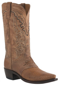 Mens Lucchese Since 1883 Western Boots Old Nugget Lizard Saddle/Peanut Brittle Mad Dog Goat M2902
