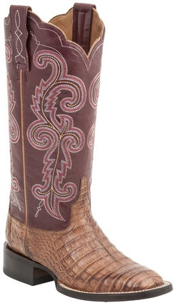 Lucchese Since 1883 Womens Tan Caiman Embroidered Leather Shaft Cowgirl Boots  Lucchese Style M4941