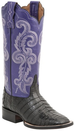 Lucchese Since 1883 Womens Black Caiman Embroidered Leather Shaft Cowgirl Boots  Lucchese Style M4943
