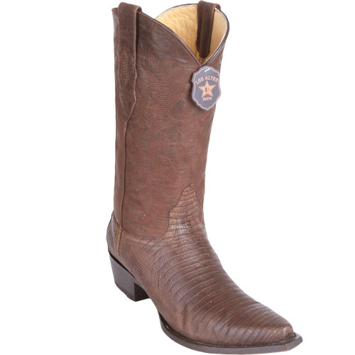 Los Altos Snip Toe Teju Lizard Greasy Finish Brown Men's Boots 94G0707