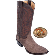 Los Altos Mens Snip Toe Teju Lizard Western Cowboy Boots Brown 940735