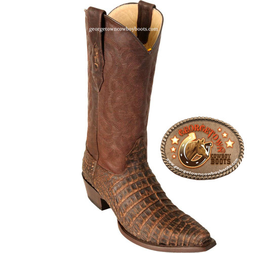 Mens Los Altos Boots Snip Toe Caiman Belly Brown Boots 948235
