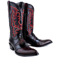 King Exotic Black Cherry Lizard Saddle Vamp J-Toe 9820718