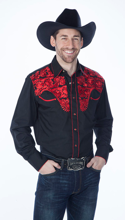 Mens Tooled Black Western Fashion Shirts with Red Embroidery