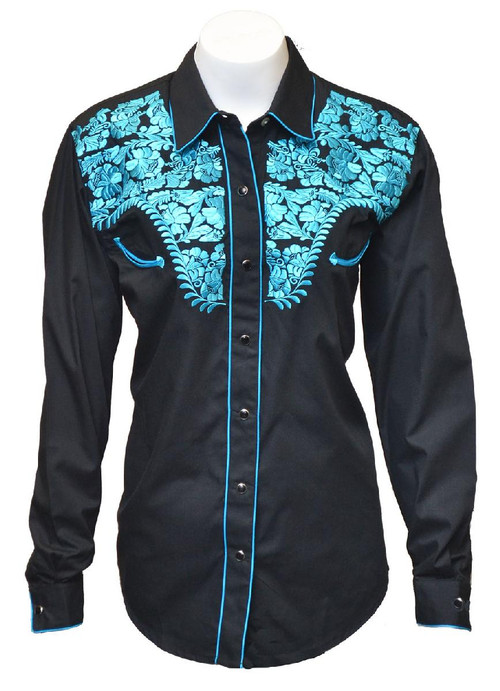 Womens Tooled Black Western Fashion Shirt  with Blue Embroidery Style 925