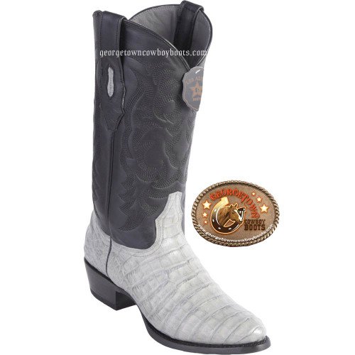 Los Altos Gray  Caiman Belly R Toe Mens Western Boots Handcrafted 658209