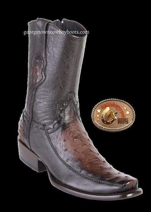 King Exotic Mens Genuine Ostrich and Deer Leather Boots H79 Dubai Toe
