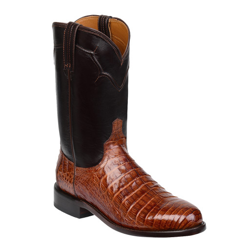 M0700 Lucchese Mens Brown Caiman Roper Boots