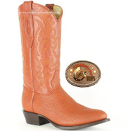 Los Altos Cognac Tan Shark Round Toe Western Boots 650903
