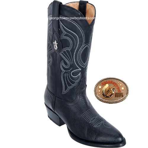 Men's Round Toe Genuine Leather Bull Shoulder Western Boots - Exotic Skin Boots