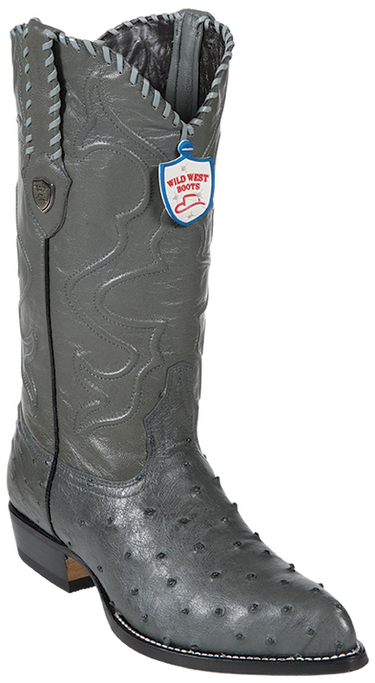 Wild West Ostrich Gray Mens Cowboy Boots Style 2990309