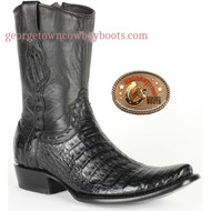 King Exotic Mens Genuine Caiman and Deer Leather Boots H79 Dubai Toe 479B8205 - Black Color