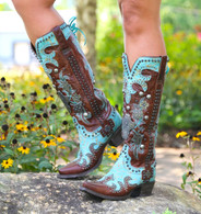 Lane for Double D Ranch Ammunition Turquoise Boots DD9001A Picture