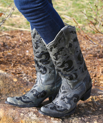 Corral Black Sequence Inlay Boots A1065 Picture